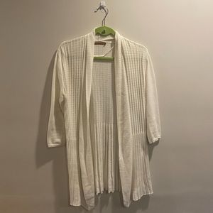 Belldini White Mesh 3/4 Sleeve Long Cardigan